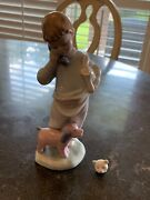 Vintage Nao Lladro Boy On Phone With Dog And Bear 1044 Damaged, Please Read.