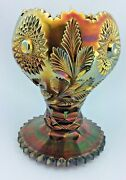 Millersburg Hobstar And Feather Purple Giant Rose Bowl Carnival Glass