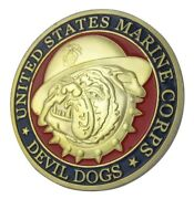 U.s. United States Marine Corps Usmc   Devil Dogs   Military Gold Plated Coin
