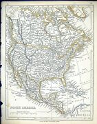 Old C1860 Lowry Map North America Mexico Cuba Hudson Bay Caribbean Se Victorian