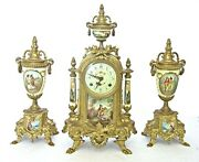 Fine Hermle Lancini Brass And Porcelain Striking Clock And Garnitures Set Works Well