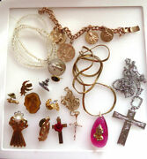 Lot Of Religious Jewelry - Includes Lourdes 100th Anniversary Charm Bracelet