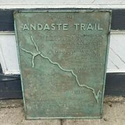 Vintage Bronze Historical Plaque Andaste Trail Southern Tier New York