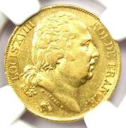 1817-a France Gold Louis Xviii 20 Francs Coin G20f - Certified Ngc Au55 - Rare