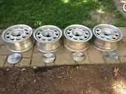 Mustang 15 X 7 Cast Aluminum Wheels -set Of 4 With Rare Center Mustang Caps