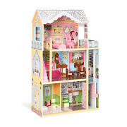 Large Kid's Wooden Dollhouse Dreamy Toy Family Doll House W/furniture Gift