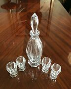 Faberge Vintage Imperial Collection Crystal Vodka Decanter With 4 Glasses