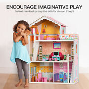 Large Kids's Wooden Dollhouse Doll House 2 Staris W/furniture Toy For Girls