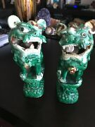 Antique Pair Of Porcelain Chinese Guardian Lions Foo Dogs Roof Tile Statues