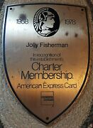 Vintage Collectible American Express Charter Membership Heavy Brass Plaque Sign