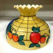 Vtg. Hand Painted Hurricane Lamp Shade 9 1/2 Inches Tall