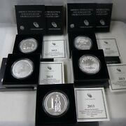 Set Of 5 - 2013 5 Oz Silver Burnished America The Beautiful Coins W/box And Coa