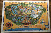 Disneyland Vintage Wall Map Walt Disney 30 X 44 Inches Poster Guide 1968 - 1972