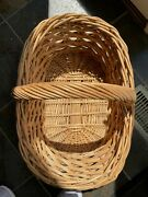 Decorative Wicker Basket With Handle Farmhouse Style 21 Long Natural Color/tan