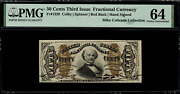 Fr-1328 0.50 Third Issue Fractional Currency - 50 Cents - Graded Pmg 64