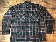 Og Dixxon Flannel Lined Brown Jacket Button Snaps And Zipper Large