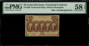 Fr-1280 0.25 First Issue Fractional Currency - 25 Cent - Graded Pmg 58 Epq