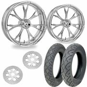Pm Paramount Chrome 21/18 Front Rear Wheel Package Set Tires Rotors Harley Flh/t