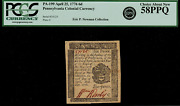 Pa-199 Colonial Currency - Pennsylvania April 25 1776 6d Graded Pcgs 58ppq