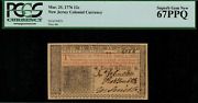 Nj-179 Colonial Currency - New Jersey March 25 1776 12s Graded Pcgs 67ppq