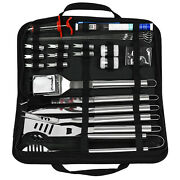 25 Piece Barbecue Tool Set Cloth Bag With Thermometer Turkey Syringe Bbq Tools