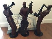 Pier 1 Imports Large Hand Carved Wooden Jazz Musician Figurines 15.7