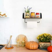 Wall Mounted Paper Towel Holder With Shelf Under Cabinet For Kitchen, Bathroom