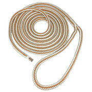 Seagrace Boat Dock Line   Double Braided 3/8 Inch X 20 Ft Gold White