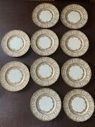 Set Of 10 Royal Doulton And Co Ny Gold Embellished Dinner Plates