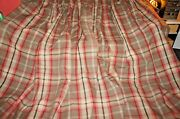 Tartan Plaid / Check Wool Or Wool Mix Beige Brown Red Large Lined Pr Curtains