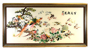 Chinese Silk Embroidery Peacock Birds And Flowers Scenery Signed And Framed