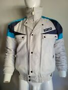 Vtg Spyder Winter Jacket Snow White Blue Fabric Entrant Zip Front Menand039s Small