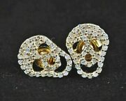 1.68ct Natural Round Diamond 14k Solid Yellow Gold Screw Back Skull Stud Earring