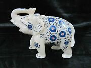 12 Marble White Elephant Trunk Up Marquetry Rare Stone Inlay Mosaic Gift Decor