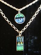 The Finest Vintage Double Art Glass And Sterling Silver Pendant Necklace