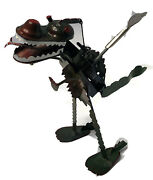 T Rex Dragon Dinosaur Tucher + Walther Germany Wind Up Toy Head And Tail Move