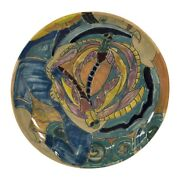 Shearwater Pottery Modern Art Deco Hand Painted Dragonfly Fish Plate Findeisen