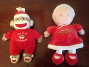 2 My First Dolls Christmas Soft Toy Girl Dollcarters Sock Monkeybabystarters