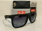New Ray-ban Classic Justin Black Frame W/ Gray Gradient Polarized Lens Rb4165 55