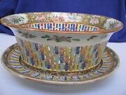 Chinese Rose Medallion Reticulated Porcelain Fruit Chestnut Bowl And Under Plate