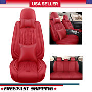 Auto Car Leather Seat Cover 5 Seats Wear-resistant Frontandrear Set Cushion+pillow