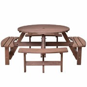 Indoorand Outdoor 8 Seat Wood Picnic Table Beer Dining Seat Bench Set Garden Yard
