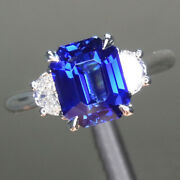 Luxurious 2.30 Ct Sapphire And Diamond Engagement Ring 14k White Gold Size 4 5 6 7