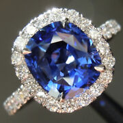 Luxurious 2.62 Ct Sapphire And Diamond Engagement Ring 14k White Gold Size 4 5 6 7