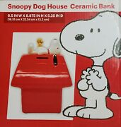 Peanuts Snoopy Woodstock Red Doghouse Dog House Ceramic Bank Nos