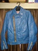Addict Clothes Auth Biker Rider Motorcycle Jacket Turquoise Blue 34 From Japan