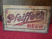Rare Vintage Pfeiffer's Beer Wooden Shipping Crate Box 1940s Detroit, Mi Brewery