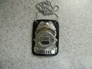 Burns Security Officer Numbered Badge With Leather Badge Holder Neck Chain
