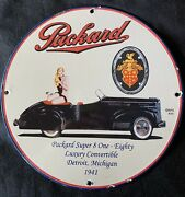 Vintage Style 1941 Packard Dealer Advertising Porcelain Signs 12 Inch Round