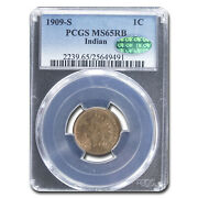 1909-s Indian Head Cent Ms-65 Pcgs Cac Red/brown - Sku201744